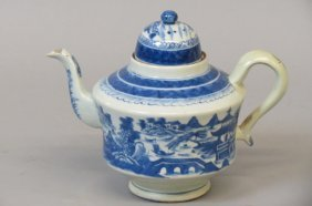 Chinese Blue And White Porcelain Teapot,