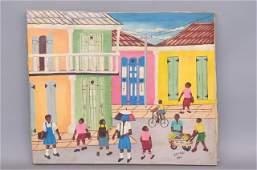 Gerald Haitian Oil Painting of School Children,