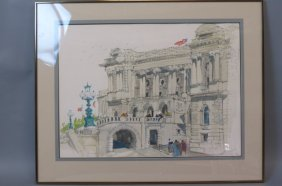 Peter Max Original Pencil Drawing & Watercolor,