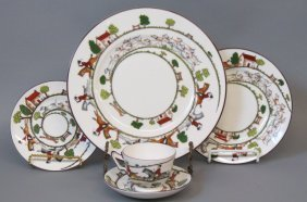 "40 Pcs. Crown Staffordshire ""hunting Scene"" China"