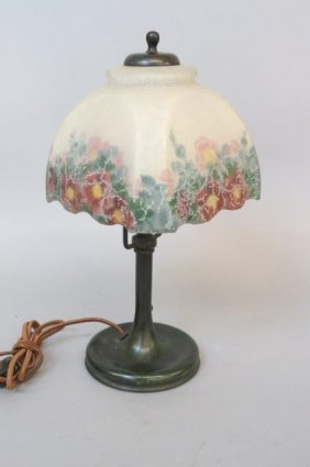 Handel Lamp With Reverse Painted Shade,