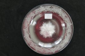 6 Libbey Cut And Engraved Glass Plates,