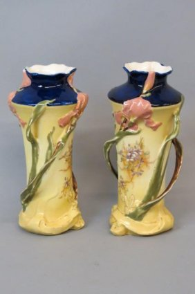 Pair Of Teplitz Porcelain Vases,