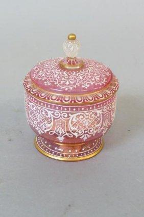 Lobmeyr Enameled Art Glass Jar,