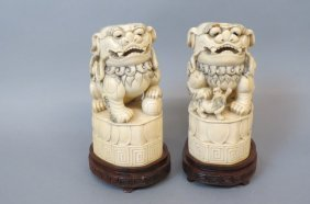 Pair Of Chinese Carved Ivory Foo Dog Figurines,