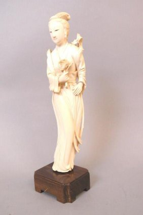 Chinese Carved Ivory Figurine Of A Goddess,