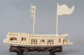 Chinese Carved Ivory Ship,