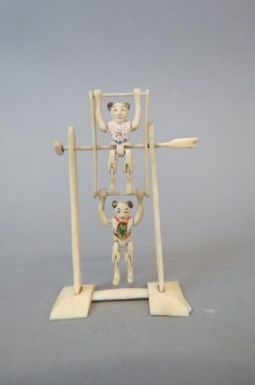 Chinese Carved Ivory Mechanical Acrobats Figurine,