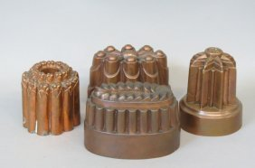 4 Early Copper Food Molds,