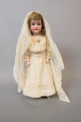 "Armand Marseille Bisque Head Doll ""rosebud"","
