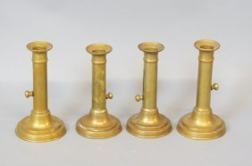 Set Of 4 Brass Candlesticks,