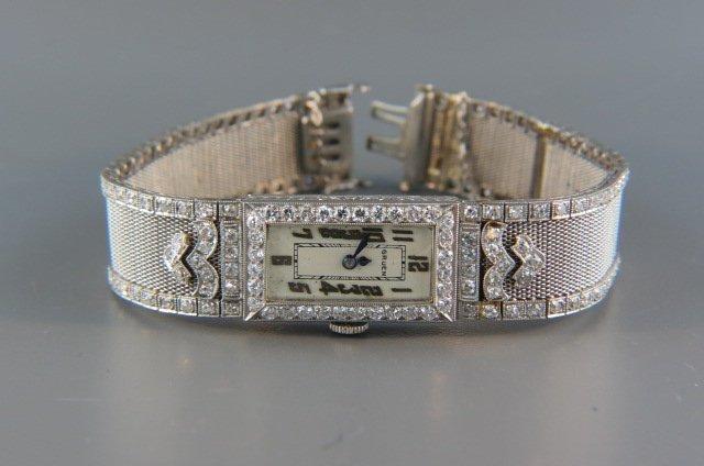Platinum and Diamond Art Deco Wristwatch by Gruen,