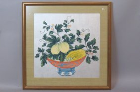 Pair Of Chinese Paintings Of Still Life With Fruit