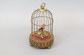 Mechanical Bird Cage In Music Box,
