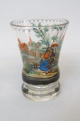 19th Century Enameled Glass Beaker Or Chalice,