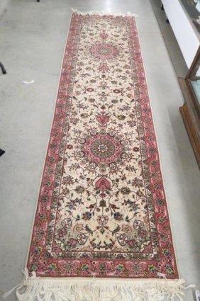 Tabriz Design Chinese Silk Handmade Runner,