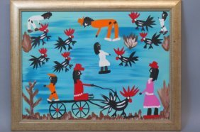 Juanita Leonard Folk Art Oil Painting Of