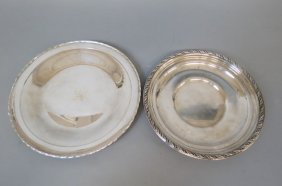 2 Sterling Silver Round Trays Or Plates,
