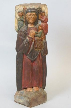 Religious Carved Wood Figurine Of A Saint,