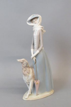 Lladro Porcelain Figurine Of Lady And Russian