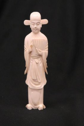 Chinese Carved Ivory Figurine Of Figure With Fan,