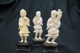 3 Chinese Carved Ivory Figurines Of Men,