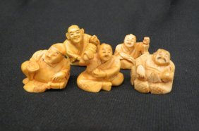 5 Chinese Carved Ivory Netsuke Of Seated Men,
