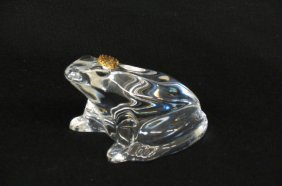 Baccarat Crystal Figural Frog Paperweight,