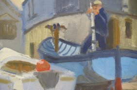 Caleb Stone Oil Painting Of Boats In Boatyard,