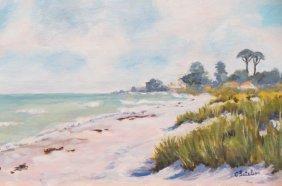Carmen G. Letelier Oil Painting Of A Beach,