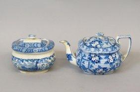 2 Pcs. Early English Blue Transfer Ware Ironstone,
