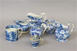 7 pcs. Early English Blue and White Transferware