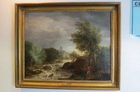 "John B. Ladbrooke Oil Painting ""a Devonshire River"","