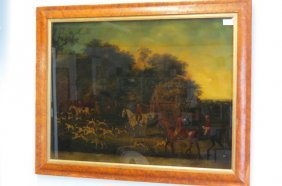 "English Fox Hunt ""the Meeting, Reverse Lithograph On"
