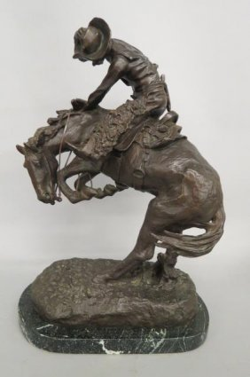 "Frederick Remington Bronze ""rattlesnake"" Cowboy On"