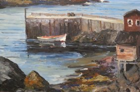 Kelsey Raymond Oil Painting Of Boat & Boathouses, Dock,