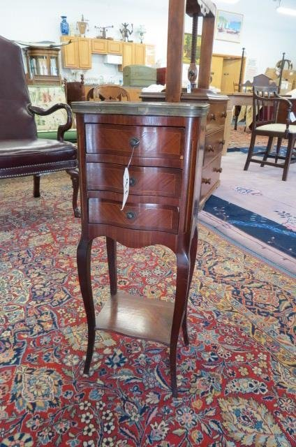 French Bedside Cabinet, marble top,