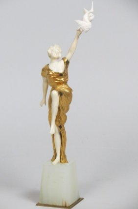 George Omerth Bronze & Ivory Statue of a Woman,