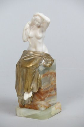 L. Barthelemy Bronze & Ivory Statue of a
