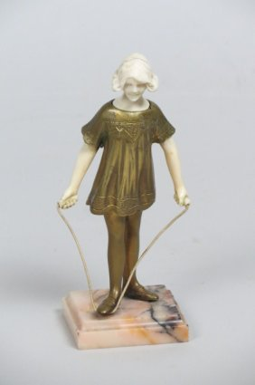 Bronze and Ivory Statue of Girl with Jump Rope,