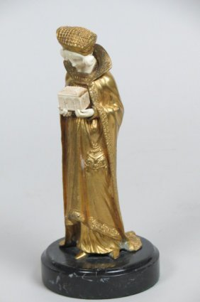 Dominique Alonzo Bronze & Ivory Statue of Lady,