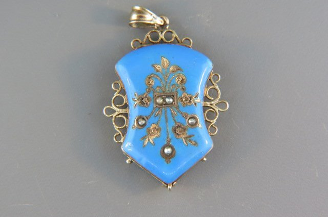 14k Gold and Enameled Victorian Locket,