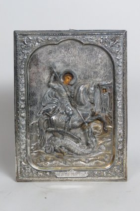 19th Century Russian Silver Icon, St. George