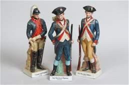 3 Porcelain Revolutionary War Military Figurines,