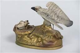 Cast iron Mechanical Bank Eagle  Eaglets