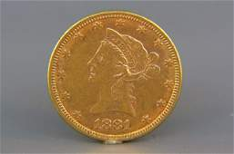 1881 US 1000 Liberty Head Gold Coin
