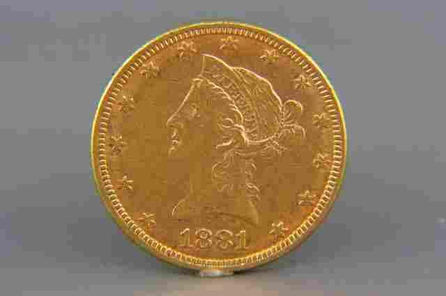 1881 U.S. $10.00 Liberty Head Gold Coin,