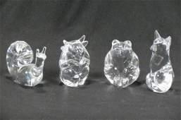4 Steuben Crystal Animal Figurines,