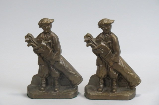 Pair of Bronze Figural Golfer Bookends,