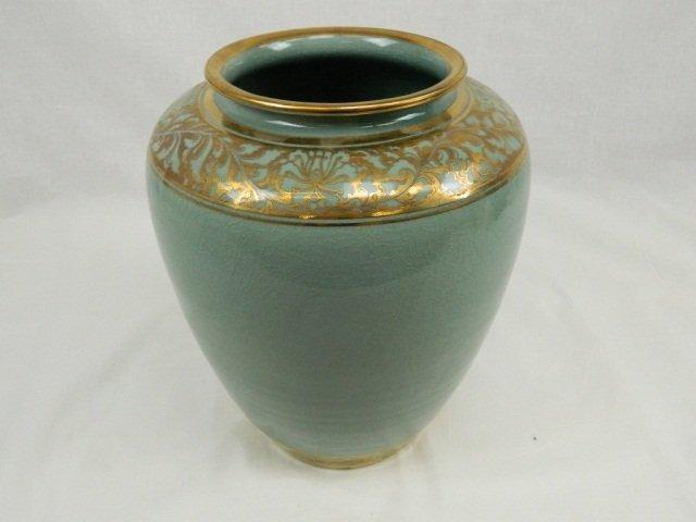 2: Thailand Siam Celadon Gold Turquoise Ceramic Pot